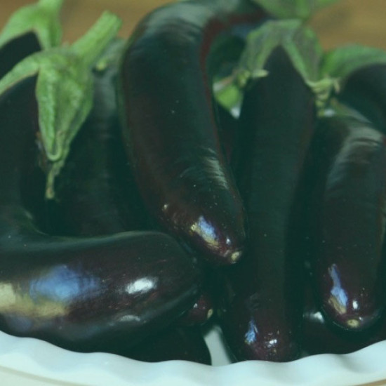 Keyword research: A white bowl full of aubergines or eggplants.